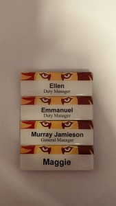 Custom Resin topped name badges with Magnetic or pin backs